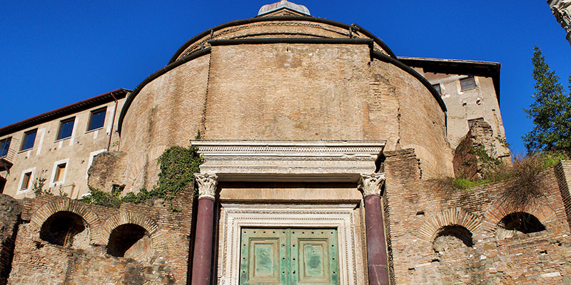 Facade of the Temple of Romulus in the Roman Forum