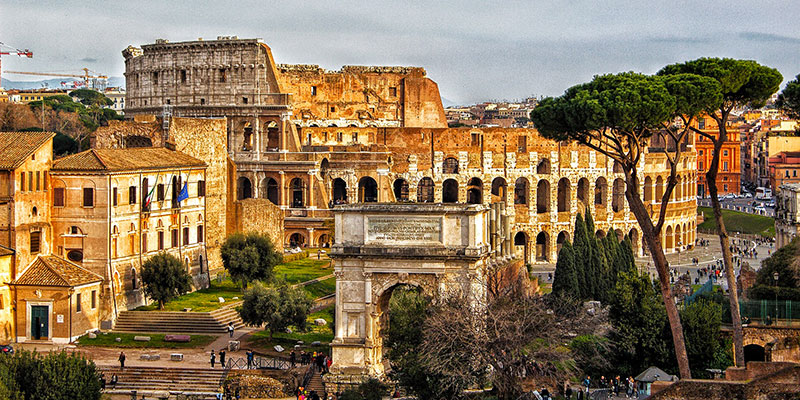 The Colosseum in Rome, view from the Palatine Hill