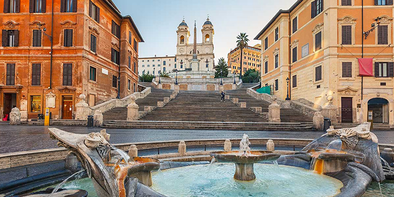 Fontana della Barcaccia near the Spanish Steps Rome