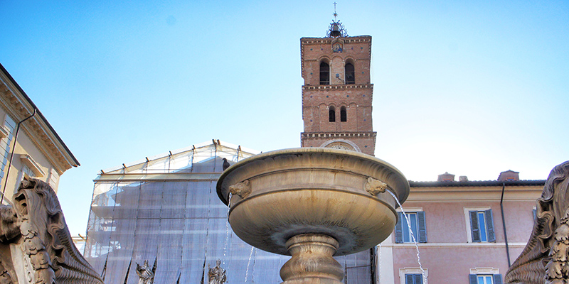 Fountain in Piazza di Santa Maria in Trastevere Rome